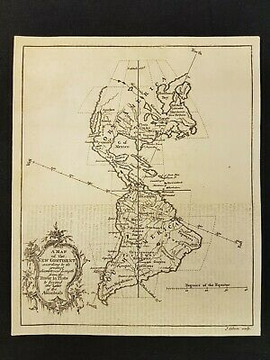 1758 MAP of the NEW CONTINENT Gibson River La Plata ENGRAVED North South AMERICA