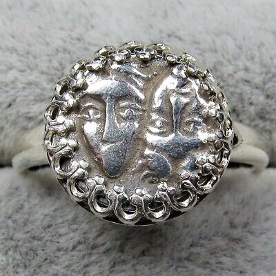 Authentic Ancient Greek Silver Coin 8s Sterling Silver Ring Setting Gemini #242