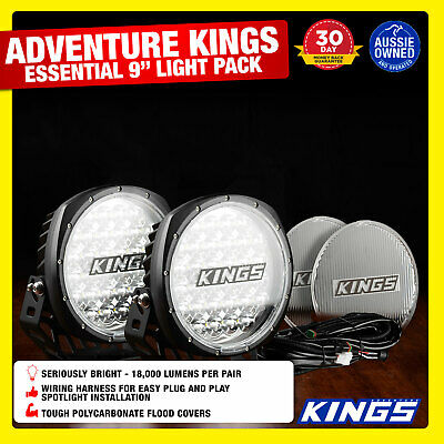 "Kings Essential 9"" Driving Light Set  FREE  Wiring Harness Included"
