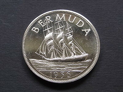 Bermuda.  Edward VIII (1936) - Fantasy Crown.. Silver, Prooflike BU