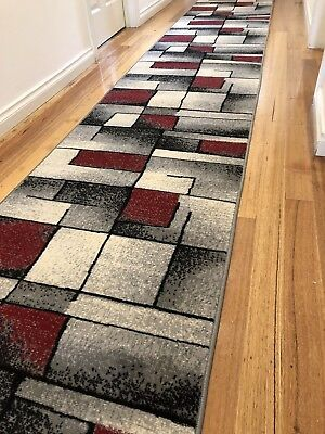 Deanna Red Grey Abstract Modern Hallway Runner Hall Runner Rug 4 Metres Long