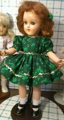 "SHAMROCK DRESS, PANTIES by SSO DOLL CLOTHES for 14"" P-90 TONI/ HONEY/15"" SHIRLEY"