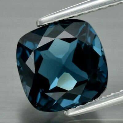 VS 2.68ct 7.5x7.4mm Cushion Natural London Blue Topaz, Brazil