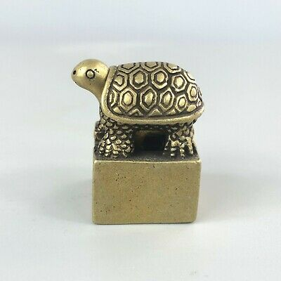 Rare Collectible Old Brass Handwork Golden Tortoise Chinese Antique Seal Statue