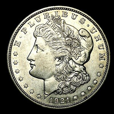 1921 D ~**ABOUT UNCIRCULATED AU**~ Silver Morgan Dollar Rare US Old Coin! #344
