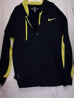 1a25ce2fb7a1 Nike Mens Therma Fit Logo Swoosh Full Zip Pullover Hoodie Size XL Yellow  Blue