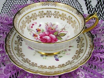 Paragon Pink Rose Floral Gold Gilt Snowflakes Wide Mouth Tea Cup And Saucer