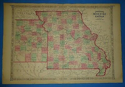 Vintage 1868 MISSOURI - KANSAS Map Old Antique Original Johnson's Atlas