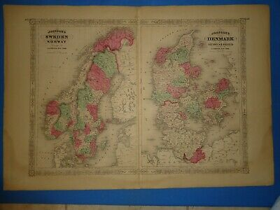 Vintage 1868 SWEDEN - NORWAY - DENMARK Map Old Antique Original Johnson's Atlas
