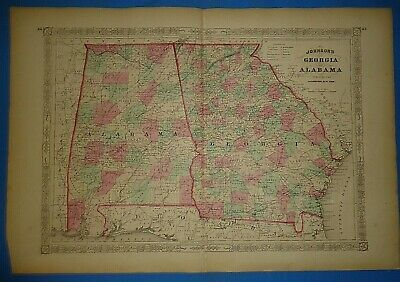 Vintage 1868 GEORGIA - ALABAMA Map Old Antique Original Johnson's Atlas