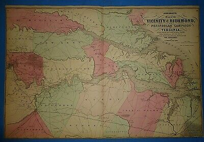 Vintage 1868 RICHMOND, VIRGINIA Map Old Antique Original Johnson's Atlas