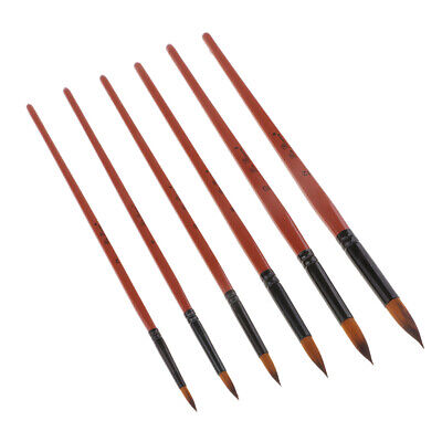 Round Artist Pro Paint Brush Set for Acrylic Oil Painting,Long Handle,6 Pcs