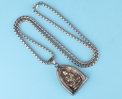 High Quality Titanium Steel Buddha Statue Crystal Necklace Covered Buddhist
