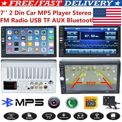 Double 2Din Android 8.1 7in Quad Core Car Stereo MP5 Player GPS FM Radio WiFi US