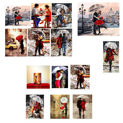 Frameless Oil Painting By Numbers Romantic Kissing Lover Picture Drawing Canvas