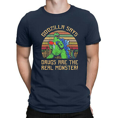 f56399559 Godzilla Says Drugs Are The Real Monster Funny Vintage Retro Men T Shirt  XS-2XL