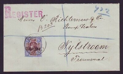 ZULULAND 1894 REGISTERED COVER FROM ESHOWE with 1892 9d