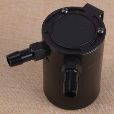 2-Port Compact Baffled Oil Catch Can Tank 3/8Inch NPT Inlet Outlet For Car Black