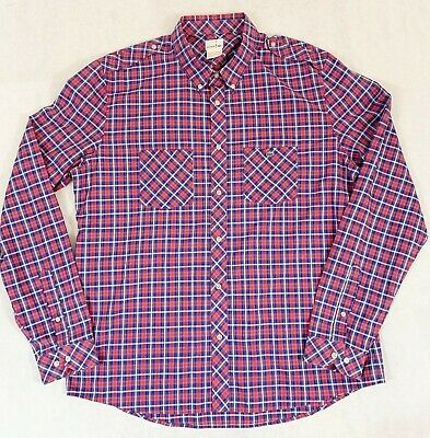 544774983845a LACOSTE Red Limited Edition Men s Long Sleeve Plaid Button Down Size 45 XXL  2XL