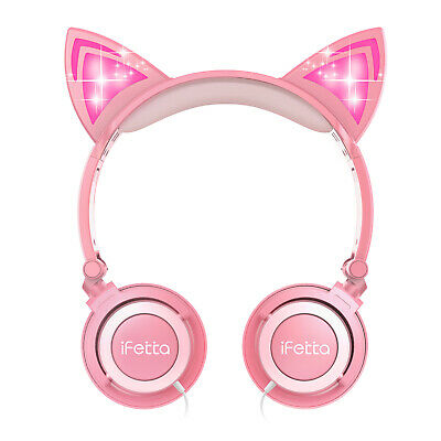 Kid Girls Foldable Cat Ear Headset LED Music Lights Headphones Earphone