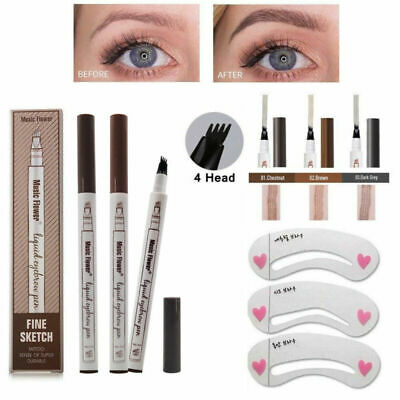 Eyebrow Microblading Tattoo Ink Pen Cosmetic Waterproof 4 Forks Tip Brow Make-Up