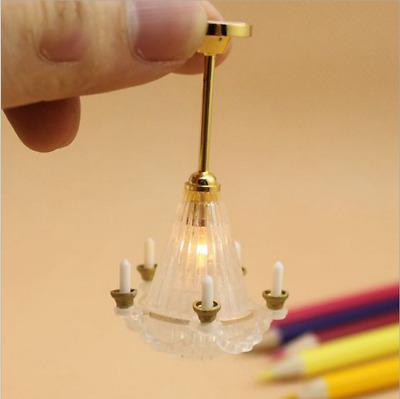 Miniature LED Chandelier Ceiling Lighting Lamp 5 Candle For Dollhouse Decor Accs