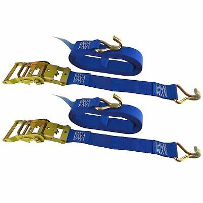 Blue Ratchet Strap Tie Down Trailer 5m Hook Cargo Strap 750kg Lashing x 2 (Pai