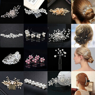 Flower Wedding Hair Pins Comb Bridal Clips Gold Crystal Pearl Hair Accessories