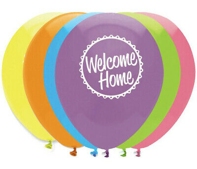 6 x Welcome Home Balloons Party Decorations Assorted Colours air or helium