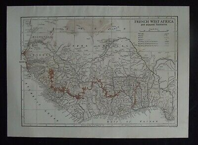 Vintage Bi-Colour Map: French West Africa by Emery Walker, c 1950s