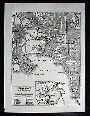 Vintage B/W Map: Melbourne & Environs, Australia, by Emery Walker, c 1950s