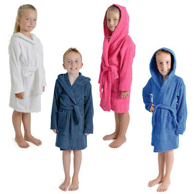 Tom Franks Kids Children's Terry Towelling 100% Cotton Hooded Bath Robe