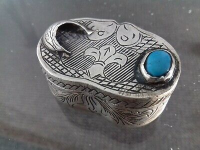 Late 18th Century Solid Silver Turquoise French ? box