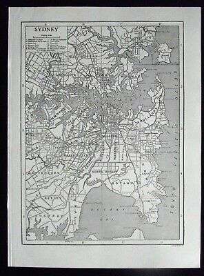 Vintage B/W Map: Sydney, Australia, by Emery Walker, c 1950s