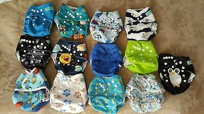 Used Alva Baby One Size Cloth Diapers Lot Hemp Charcoal Bamboo Inserts Wet Bags