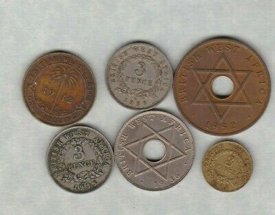 Six British West Africa Coins Dated 1925 To 1952Kn In Fine Or Better Condition