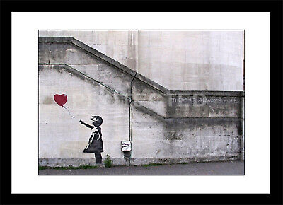 Banksy Framed Print Girl with Red Balloon Heart Graffiti Picture Art Poster