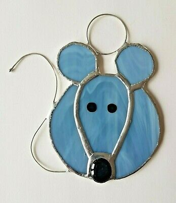 Grey Mouse stained glass suncatcher pet window wall decor gift