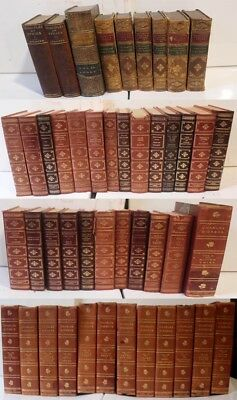 One Dozen Leather Bound Antique and Vintage Classic Literature Editions