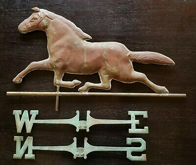 RARE Large VINTAGE ORIG ANTIQUE PATINATED COPPER HORSE WEATHERVANE WITH COMPASS