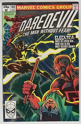 Daredevil # 168  -Nm  Key  1St Appearance Of Elecktra  Pence  1981
