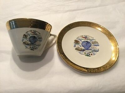 New York World's Fair Cup and Saucer 1961 Unisphere presented by US Steel