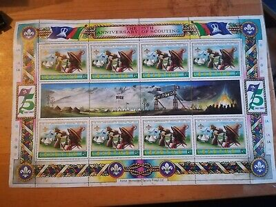The 75th Anniversary Of Scouting Stamp Sheet Lesotho