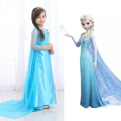 6ff366df12 ELSA PRINCESS DRESS Girls Snow Queen Dress Costume Party Cosplay Outfit  3-10Y