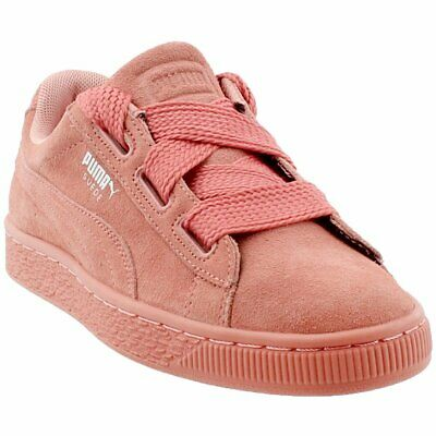 db1dd344e34 GIRLS JUNIOR PUMA SUEDE PLATFORM MID Leather Rose Gold Trainers ...