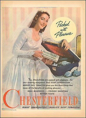 1945 Vintage ad for Chesterfield cigarettes Tobacco Bride Suitcase shoe (062917)