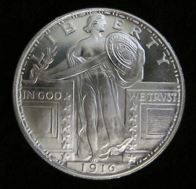 1 oz -1916 Standing Liberty silver round .999 pure One Troy Ounce - B.U.GEMS 10
