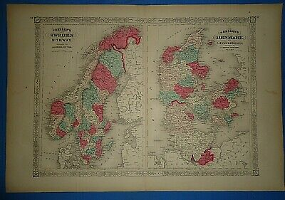 Vintage 1869 NORWAY - SWEDEN - DENMARK Map Antique Original Johnson's Atlas