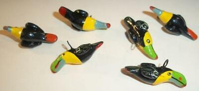 Lot of 6 Tropical Carved Toucan Hand Painted Buttons