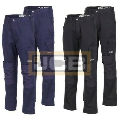 2 x JCB Essential Cargo Combat Men Work Trousers With Knee Pad Pockets Twin Pack